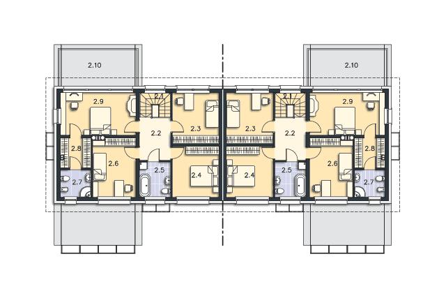Zobacz powiększenie rzutu kondygnacji Piętro - projekt Pago Pago