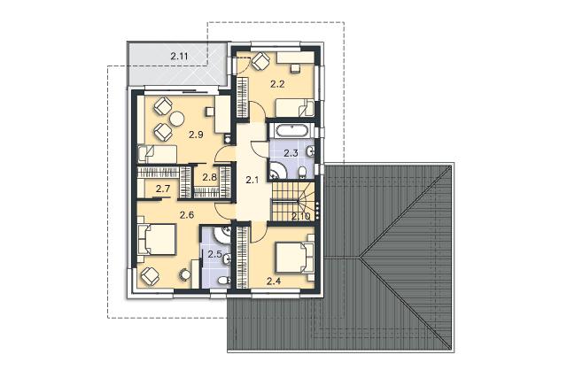 Zobacz powiększenie rzutu kondygnacji Piętro - projekt Melbourne