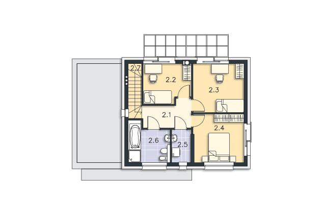 Zobacz powiększenie rzutu kondygnacji Piętro - projekt Edynburg II