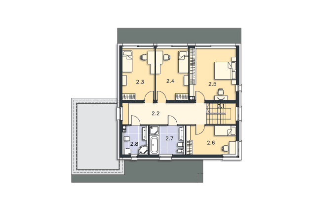 Zobacz powiększenie rzutu kondygnacji Piętro - projekt Carrara