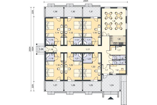 Zobacz powiększenie rzutu kondygnacji Parter - projekt Budynek agroturystyczny Jesion