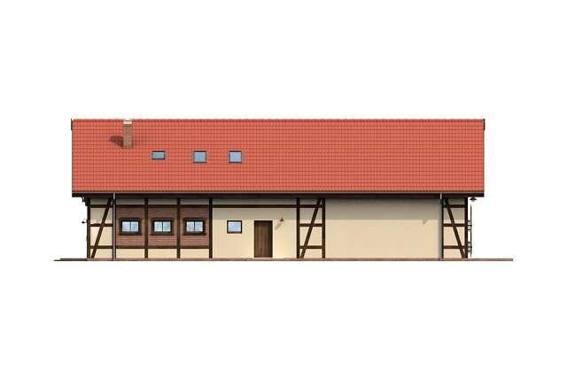 Zobacz powiększenie elewacji ogrodowej - projekt Budynek usługowy Orzeł
