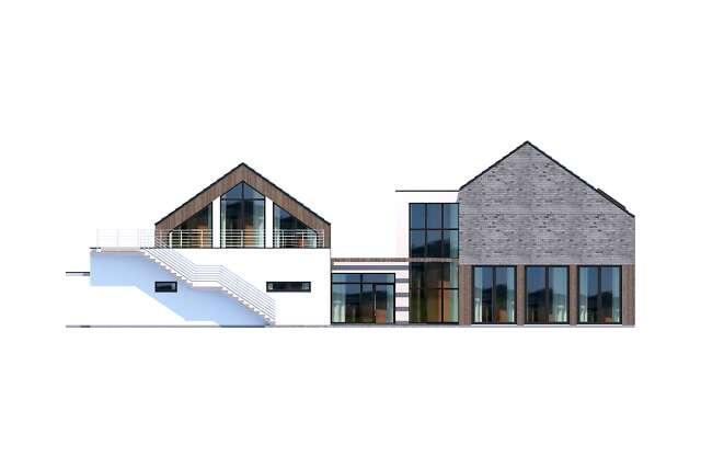 Zobacz powiększenie elewacji ogrodowej - projekt Budynek usługowy Jastrząb
