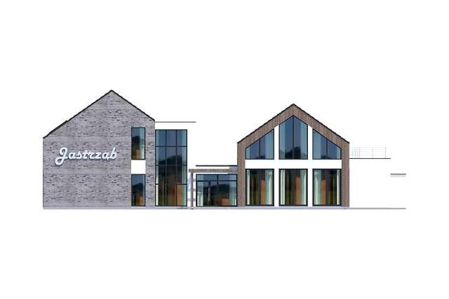 Zobacz powiększenie elewacji frontowej - projekt Budynek usługowy Jastrząb