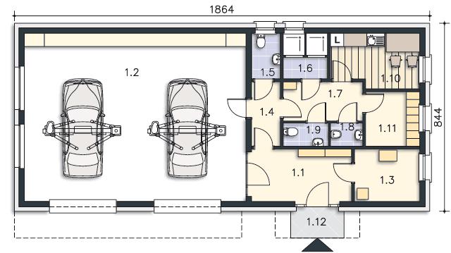 Rzut kondygnacji Parter - projekt Budynek usługowy