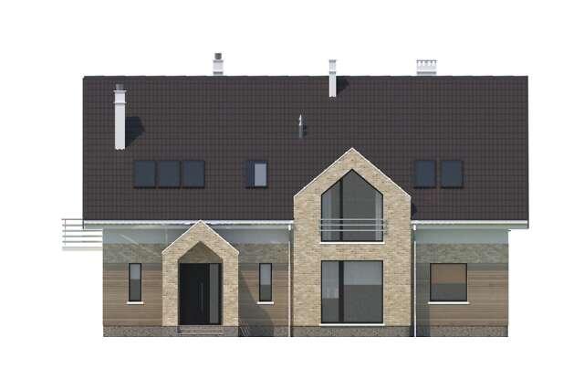 Zobacz powiększenie elewacji frontowej - projekt Budynek agroturystyczny Dąb 2