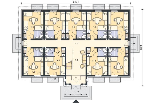 Rzut kondygnacji Parter - projekt Budynek wypoczynkowy Ambrowiec