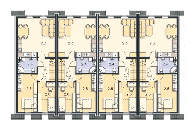 Zobacz powiększenie rzutu kondygnacji Poddasze (mieszkanie 2) - projekt Bellagio