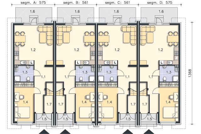 Rzut kondygnacji Parter (mieszkanie 1) - projekt Bellagio
