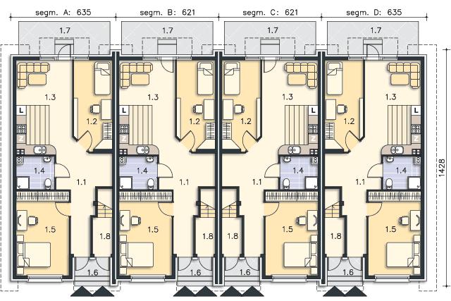 Zobacz powiększenie rzutu kondygnacji Parter (mieszkanie 1) - projekt Belize