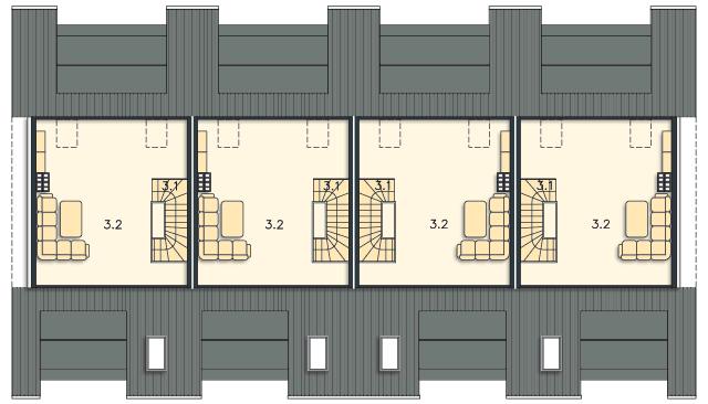 Rzut kondygnacji Poddasze (mieszkanie 2) - projekt Belize