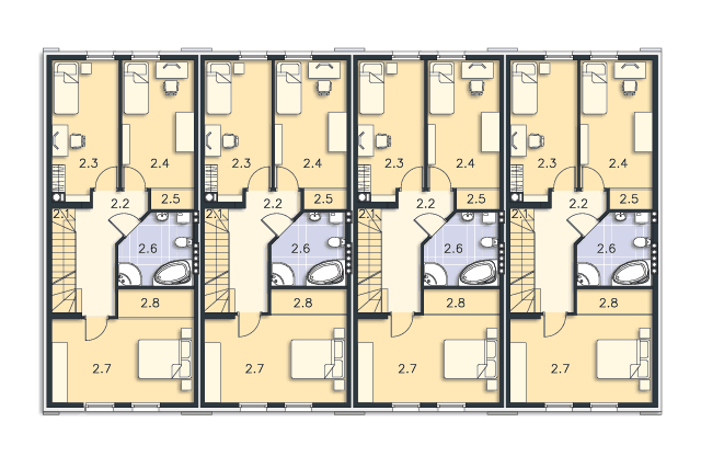 Zobacz powiększenie rzutu kondygnacji Piętro - projekt Miltown II