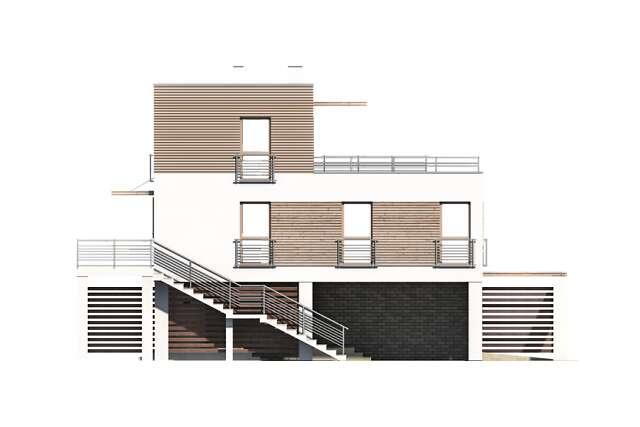Zobacz powiększenie elewacji bocznej lewej - projekt Santorini